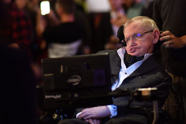 Professor Stephen Hawking addressing The Cambridge Union on Nov. 21, 2017 in Cambridge, Cambridgeshire.