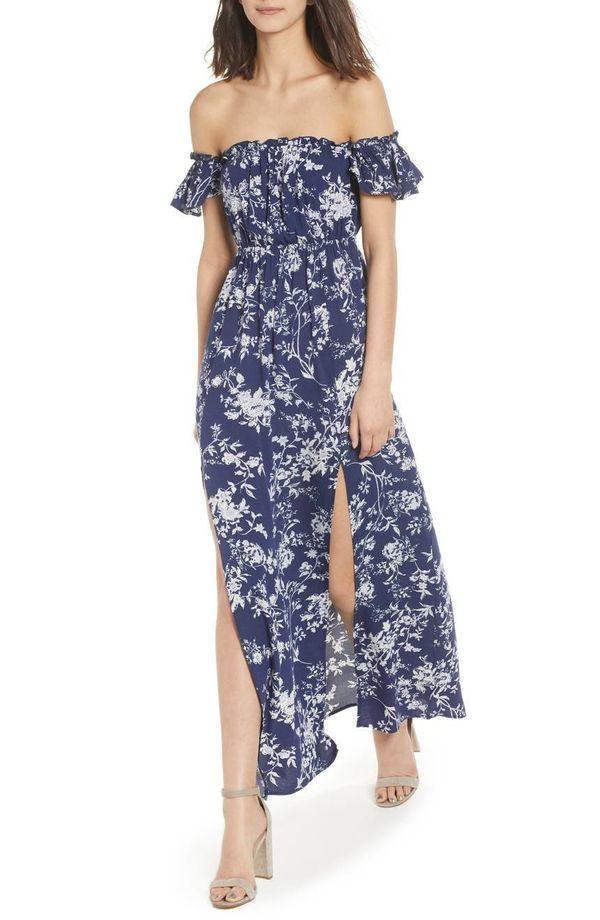 """Get it <a href=""""https://shop.nordstrom.com/s/ten-sixty-sherman-off-the-shoulder-maxi-dress/4874885?origin=category-personaliz"""