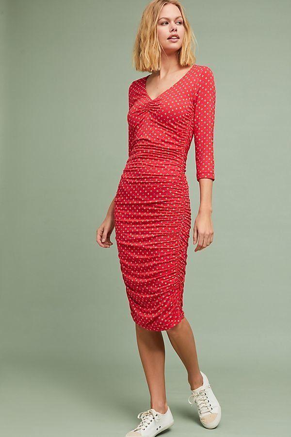 """Get it <a href=""""https://www.anthropologie.com/shop/medea-ruched-column-dress?category=dresses&color=069"""" target=""""_blank"""">"""