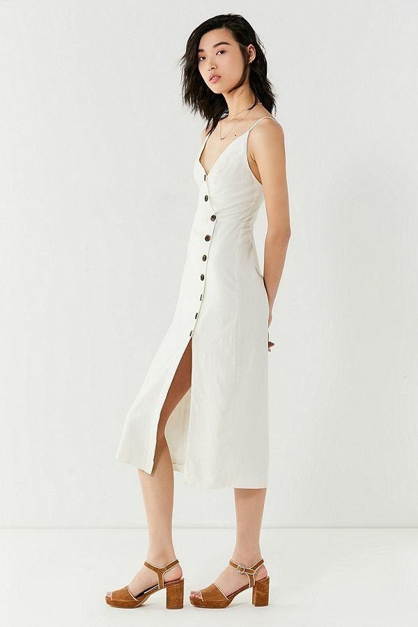 """Get it <a href=""""https://www.urbanoutfitters.com/shop/uo-amber-button-down-linen-midi-dress?category=dresses&color=010"""" ta"""