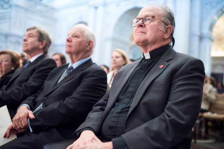 Here's House Chaplain Patrick Conroy sitting peacefully. House Speaker Paul Ryan abruptly fired him for some reason.