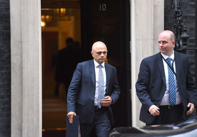 Newly-appointed Home Secretary Sajid Javid leaves Downing Street.