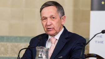 LONDON, UNITED KINGDOM - APRIL 05: Congressman Dennis Kucinich makes a speech at the 'Syria - Six Years On: From Destruction to Reconstruction' Conference in London, England on April 05, 2017. (Photo by Ray Tang/Anadolu Agency/Getty Images)