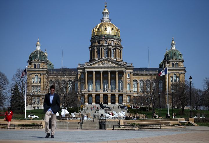 "A view of the Iowa state Capitol in Des Moines. Iowa lawmakers just passed a ""fetal heartbeat"" abortion ban."