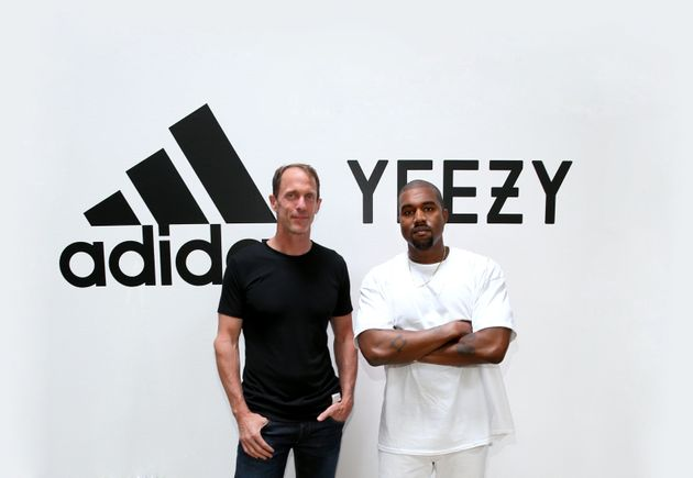Adidas CMO Eric Liedtke and Kanye West at Milk Studios on 28 June 2016 in Hollywood, California, as Adidas...
