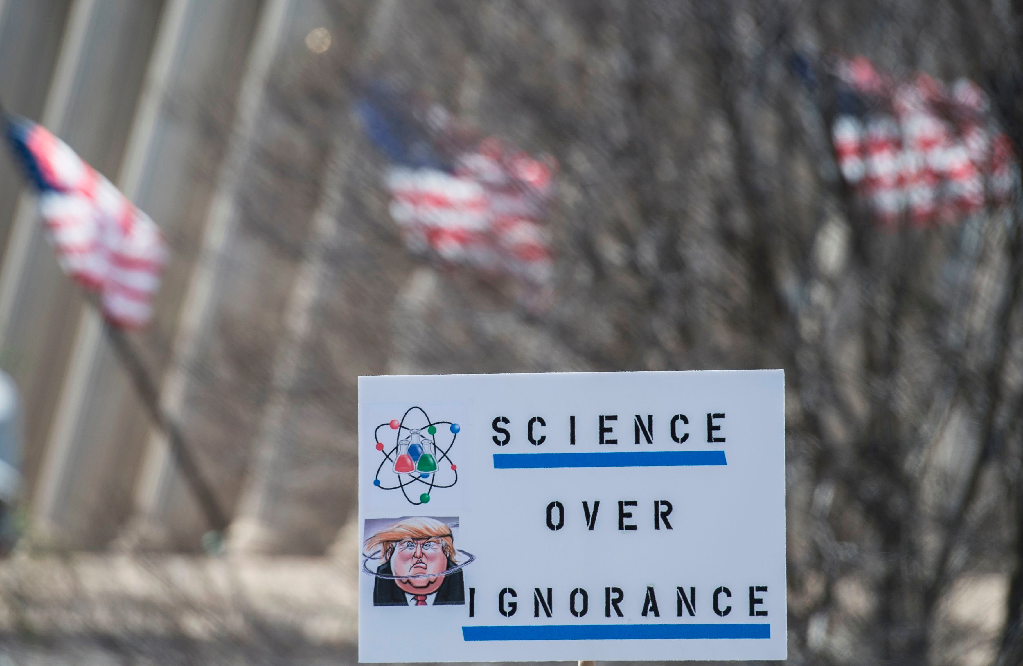 Demonstrators take part in the March for Science in Washington, DC on April 14, 2018. Local scientists and supporters joined a global March for Science to fight back against what many see as an 'assault on facts' by populist politicians.     / AFP PHOTO / Andrew CABALLERO-REYNOLDS        (Photo credit should read ANDREW CABALLERO-REYNOLDS/AFP/Getty Images)