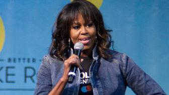 Michelle Obama is joined by students, stars, performing artists and athletes for the fifth  annual College Signing Day, hosted by Reach Higher, at Temple Universitys Liacouras Center in North Philadelphia, on May 2, 2018. The Former First Lady is joined by 7.000 students and (on stage) stars, performing artists and athletes including Bradley Cooper, Rebel Wilson, Zendaya, Robert De Niro, Camila Cabello, Questlove, Anthony Mackie and Janelle Monae. (Photo by Bastiaan Slabbers/NurPhoto via Getty Images)