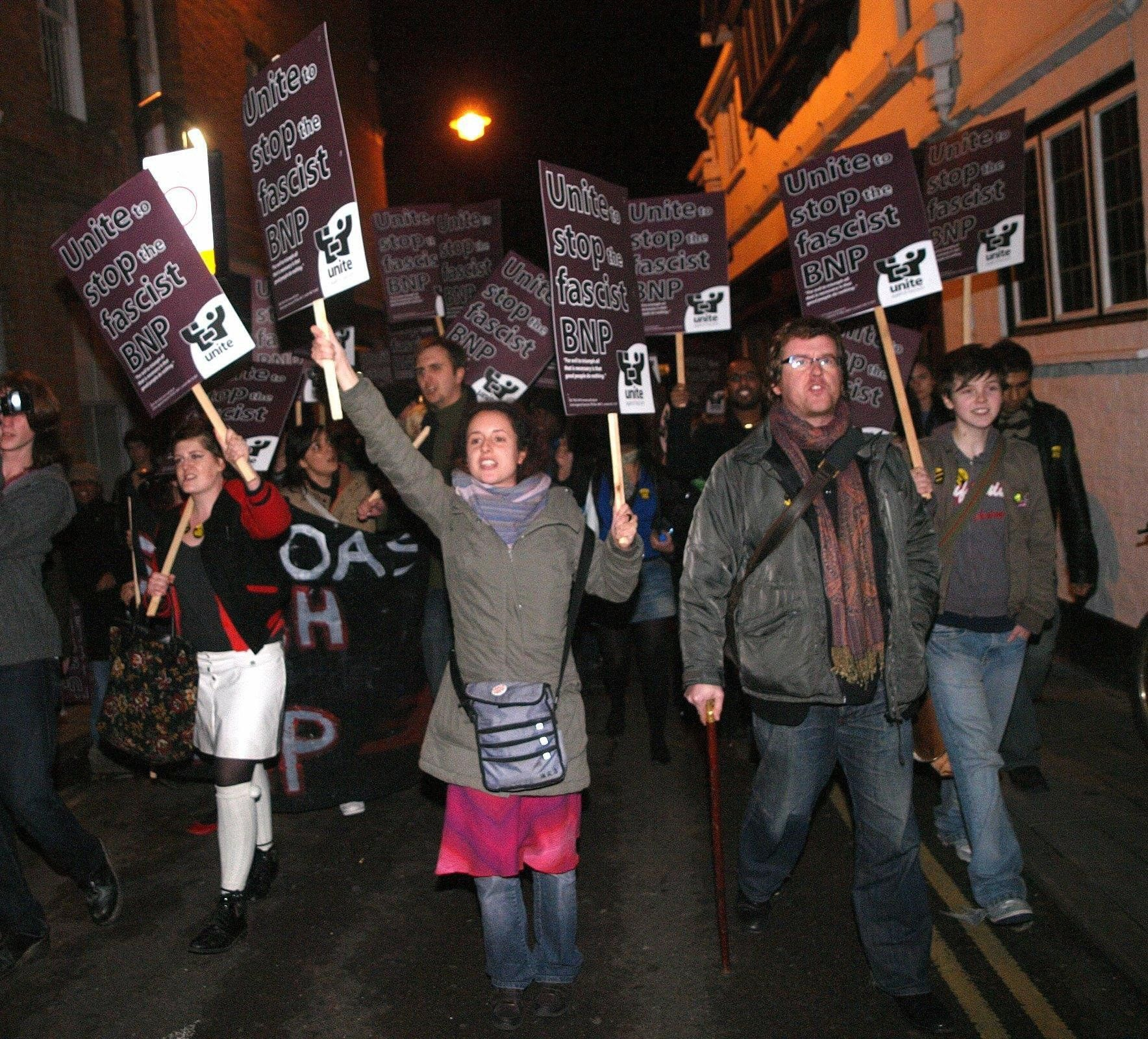 Protesters arrive at the Oxford Union where they opposed the presence of BNP leader Nick Griffin (archive