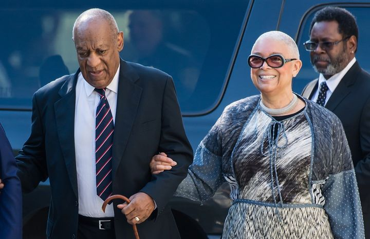Bill Cosby and his wife Camille Cosby arrive at the Montgomery County Courthouse on June 12, 2017, during Cosby's first sexua