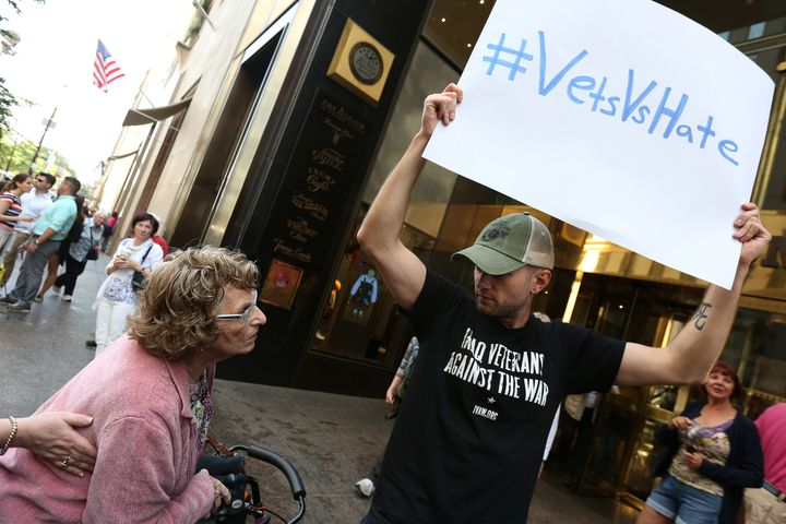 A veteran protesting outside Trump Tower in New YorkCity in 2016.