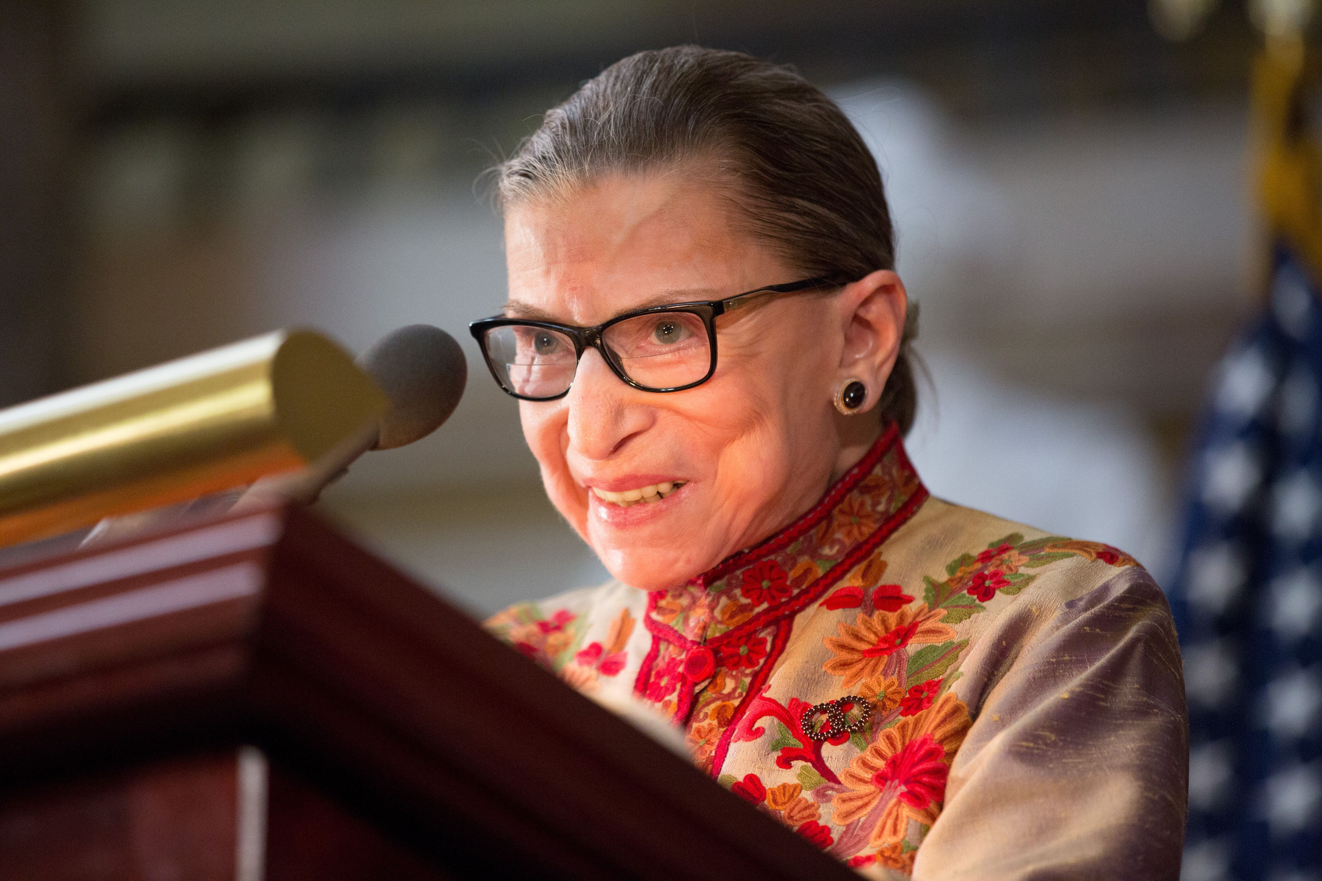 Supreme Court Justice Ruth Bader Ginsburg speaks at a Women's History Month reception at the Capitol in March.