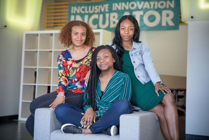 India Skinner, Mikayla Sharrieff, and Bria Snell, 11th graders from Banneker High School in Washington, D.C., are finalists i