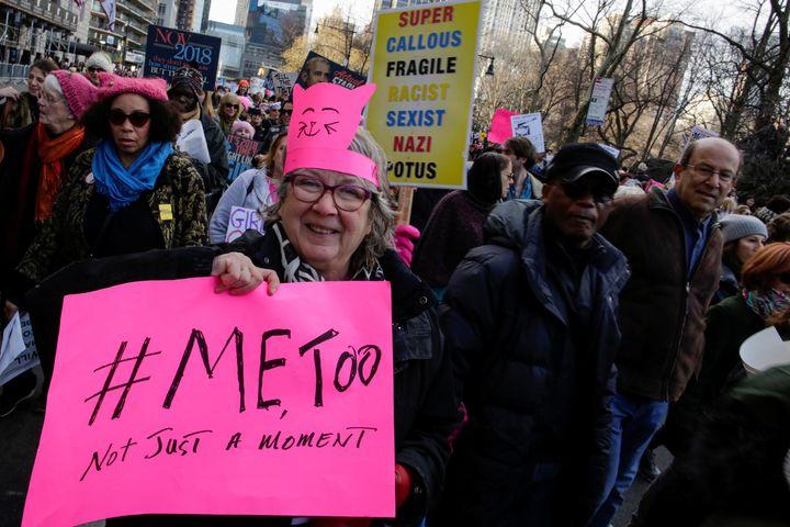 Women's March participants in Manhattanon Jan. 20.