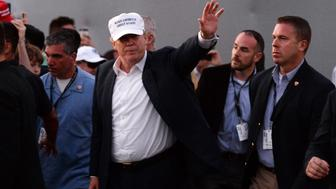 March 06, 2016: Donald Trump Owner of Trump National Doral is at the 18th Green during the trophy presentation at the completion of the final round of the World Golf Championships-Cadillac Championships - Final Round at Trump National Doral in Doral, FL (Photo by JCS/Icon Sportswire) (Photo by Juan Salas/Icon Sportswire/Corbis via Getty Images)