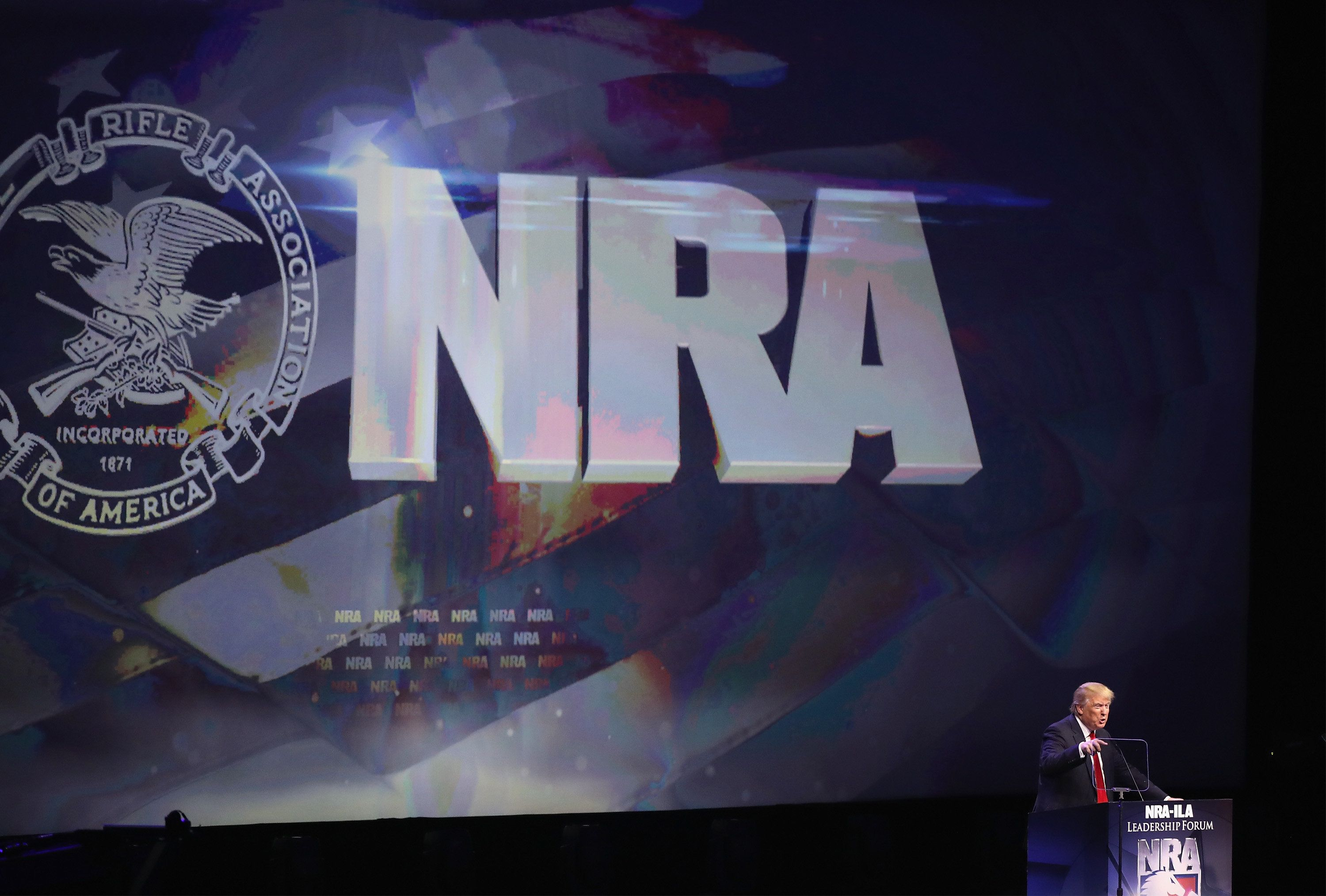 President Donald Trump seen here in 2016 is slated to appear at the NRA's Annual Meetings in Dallas this Friday
