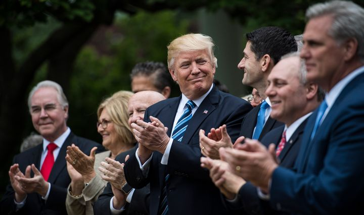President Donald Trump and House lawmakers celebrated in the Rose Garden on May 4, 2017, when they passed Obamacare repeal legislation in the House.