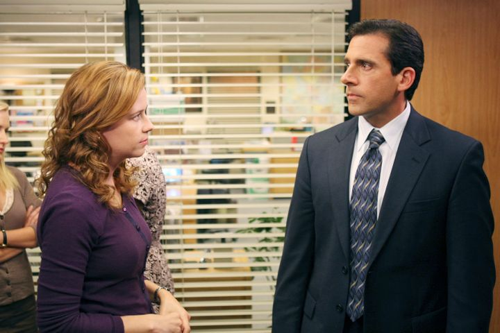 "Jenna Fischer and Steve Carell in character during the ""Launch Party"" episode of ""The Office."" Fischer finally revealed what"