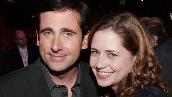 LOS ANGELES - OCTOBER 24:  Actors Steve Carell (L) and Jenna Fischer pose at the afterparty for the premiere of Touchstone Pictures' 'Dan in Real Life' at the Highlands on October 24, 2007 in Los Angeles, California. (Photo by Kevin Winter/Getty Images)