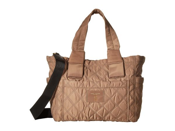 """Get it <a href=""""https://luxury.zappos.com/p/marc-jacobs-nylon-knot-babybag-french-grey/product/8877474/color/144241"""" target="""""""