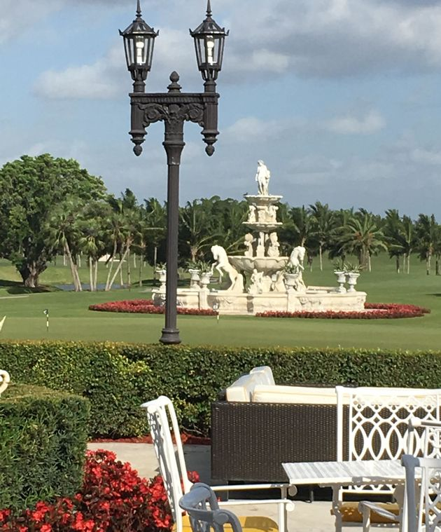 A fountain at one of four golf courses at Trump's Doral