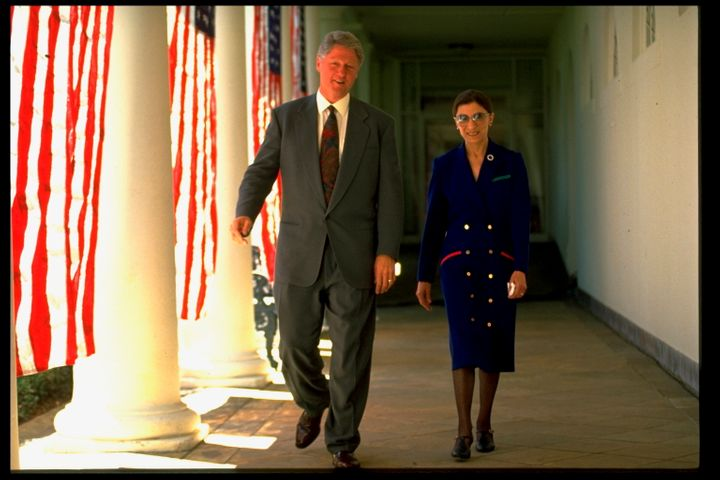 Ginsburg in 1993 with President Bill Clinton, who nominated her to the court.