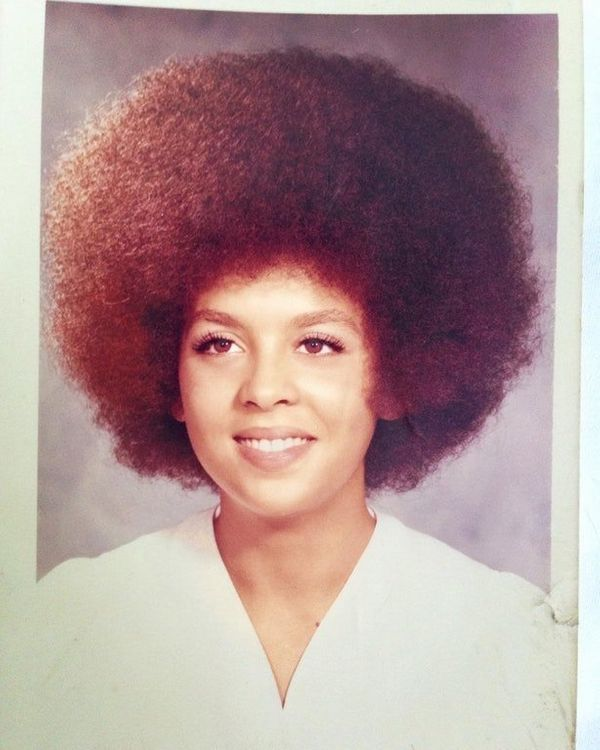 """""""This is my mother Lorraine's high school graduation photo from 1972. I love her hairstyle. She told me it was one of the eas"""