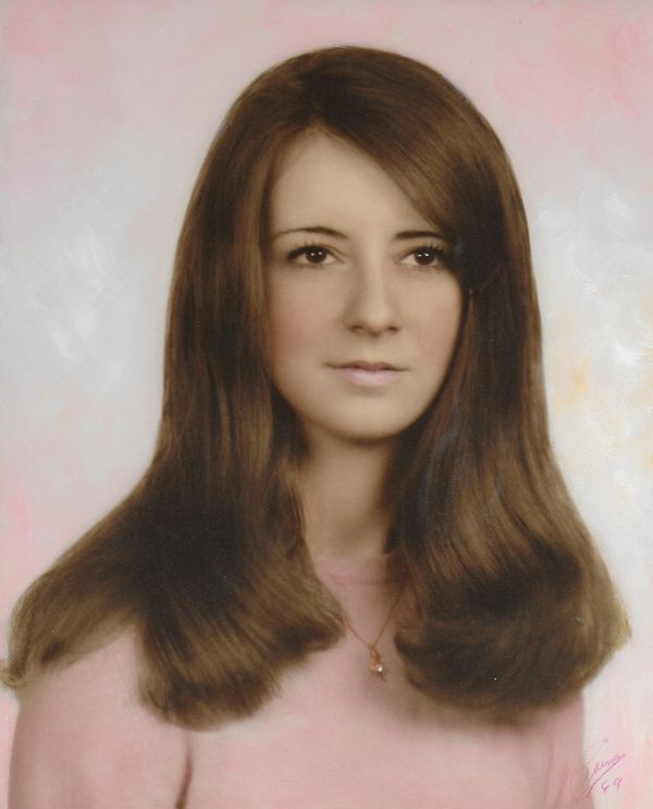 """""""This is my mom Dianna Hawrot's senior high school picture from 1969. It's my favorite one of her. I think she looks like a h"""