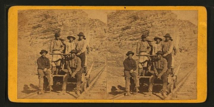 """John Chinaman on the Railroad"" stereograph image from 1875."