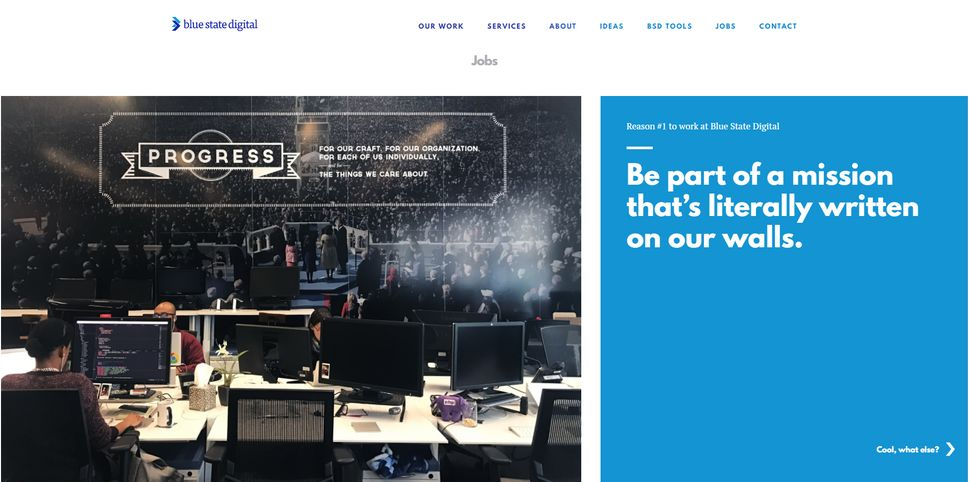 Blue State Digital's website brags of the firm's progressive values.