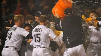 CHICAGO, IL - MAY 03: Chicago White Sox's Trayce Thompson (32) receives an ice bath after hitting a walk of home run against the Minnesota Twins on May 3, 2018 at Guaranteed Rate Field in Chicago, Illinois.  (Photo by Quinn Harris/Icon Sportswire via Getty Images)