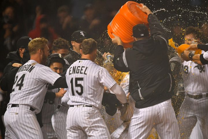 The Chicago White Sox celebrate a 6-5 walk-off win over the Minnesota Twins on Thursday.