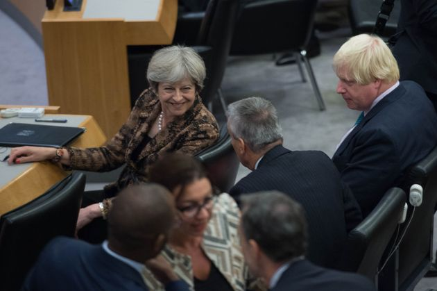 Foreign Secretary Boris Johnson (right) and Prime Minister Theresa May attend a meeting at the United...