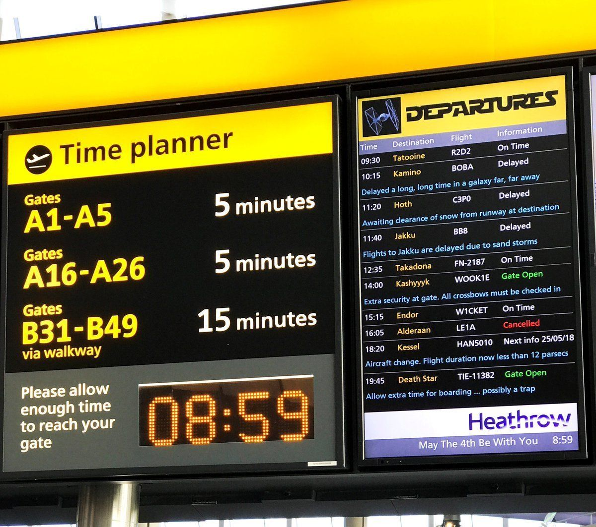 Heathrow Airport Officially Wins 'Star Wars' Day With Their #MayTheFourthBeWithYou Efforts