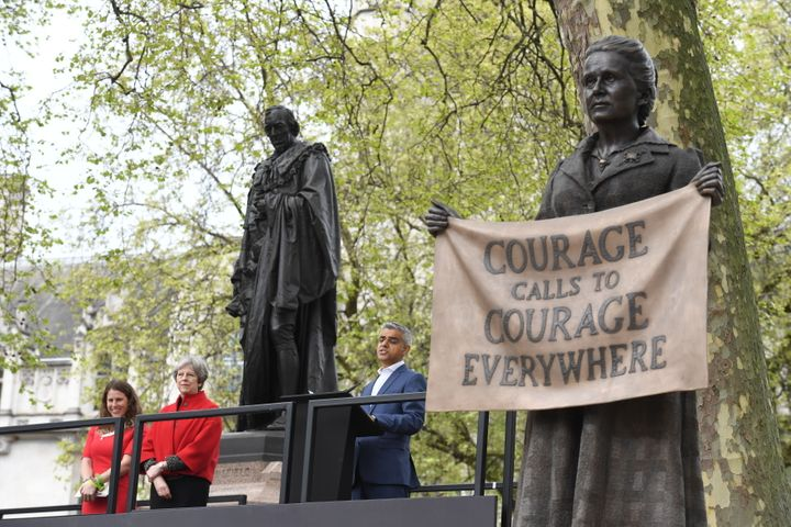 (Left to right)Caroline, Prime Minister Theresa May and Mayor of London Sadiq Khan at the unveiling of the Millicent Fawcett statue.