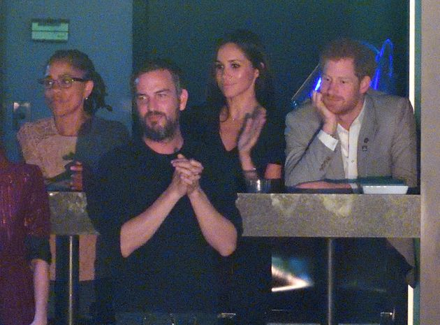Meghan Markle, her mother Doria and Prince Harry are seen at the closing ceremony of the Invictus Games...