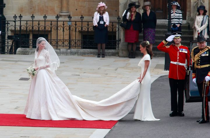 The then-Kate Middleton with her sister, Pippa, on Kate's big day on April 29, 2011.