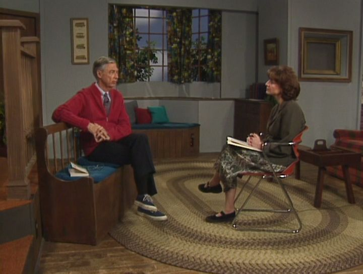 "Rogers and Hollingsworth on the set of ""Mister Rogers' Neighborhood"" in 1996."