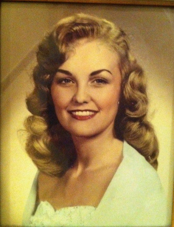 """""""This is my mom Joyce'shigh school graduation pic in the '50s in Georgia. She had a crooked finger and when she p"""