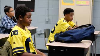 "ATLANTA Robbin' Season -- ""FUBU"" -- Season Two, Episode 10 (Airs Thursday, May 3, 10:00 p.m. e/p) Pictured: Alkoya Brunson as Young Earn, Myles Truitt as Devin. CR: Curtis Baker/FX"