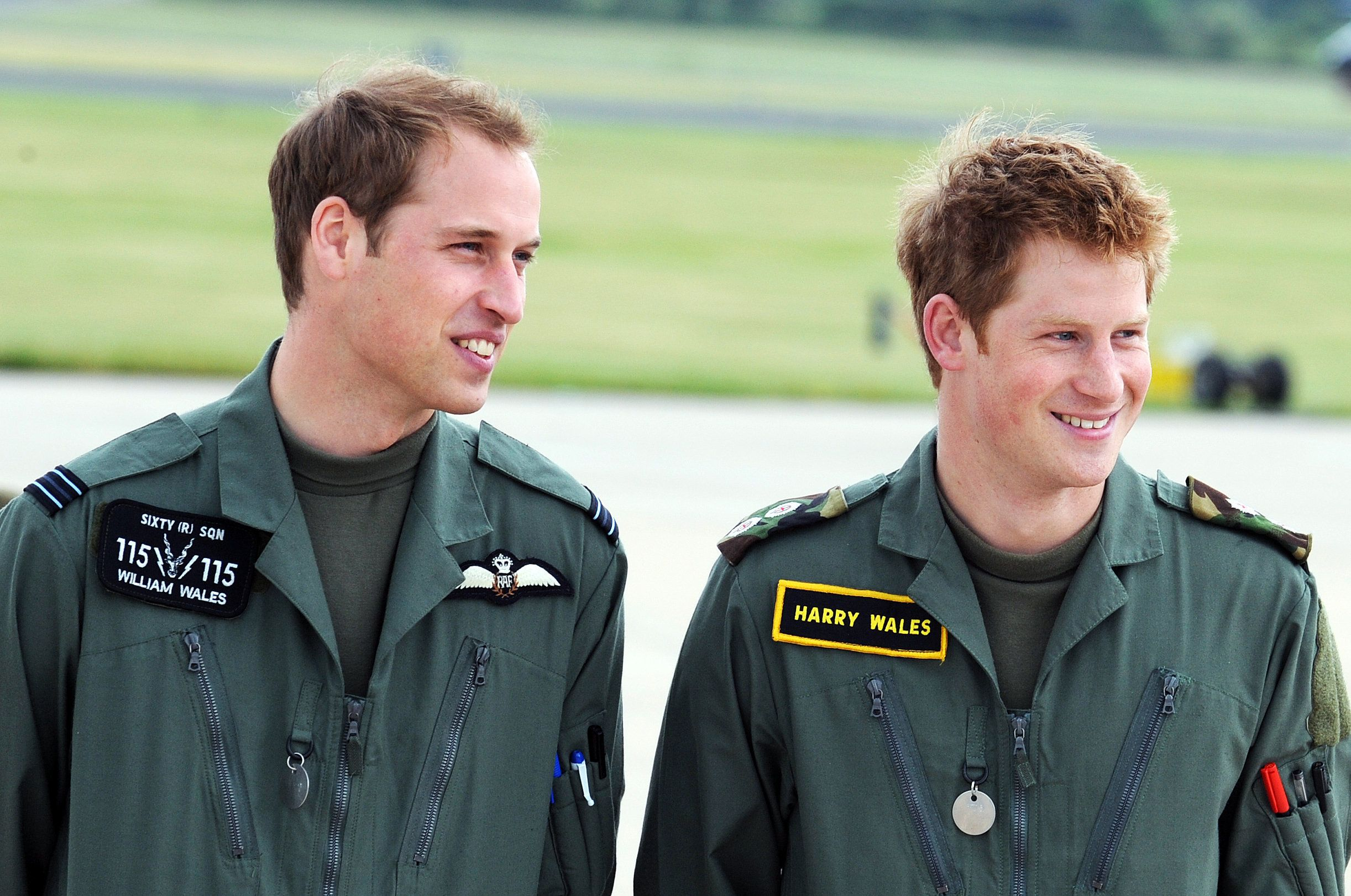 Prince William and Prince Harry on June 18, 2009, in Shawbury, England.