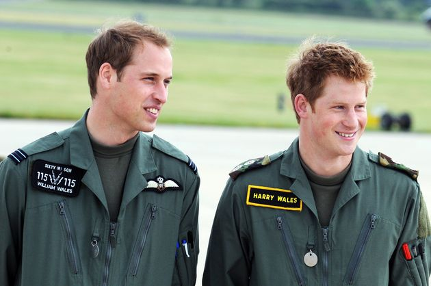Prince William and Prince Harry on June 18, 2009, in Shawbury,