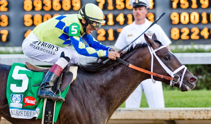 Always Dreaming, ridden by John Velazquez, won the 2017 Kentucky Derby.