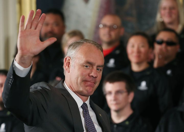 Secretary of the Interior Ryan Zinke is introduced during an event recognizing the Wounded Warrior Project Soldier Ride