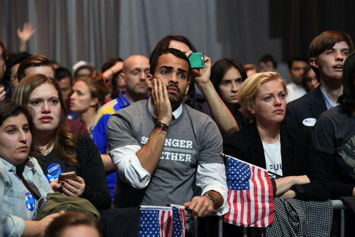 People react to results at an election night event on Nov. 8, 2016, in New York City.