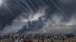 이스라엘이 팔레스타인 시위대를 향해 실탄을