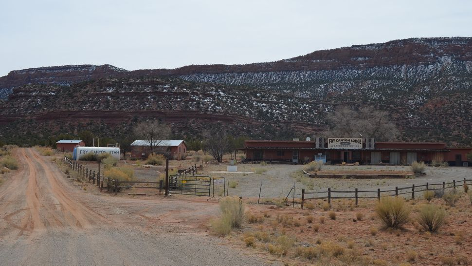 The closed Fry Canyon Lodge, located roughly 54 miles west of Blanding. Now a ghost town, Fry Canyon was establishe