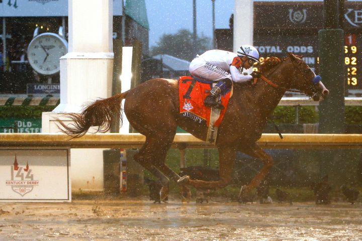 Justify, ridden by Mike Smith, is the first Kentucky Derby champion horse since 1882 that didn't make his debut racing