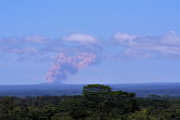 Kilauea's Pu'u 'O'o vent, seen from Hilo, began emitting plumes of smoke and gas after the crater floor