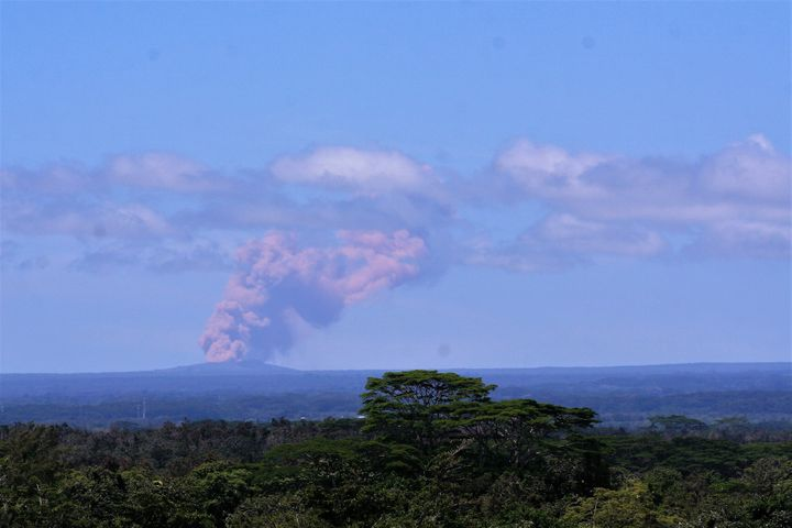 Kilauea's Pu'u 'O'o vent, seen from Hilo, began emitting plumes of smoke and gas after the crater floor collapsed.