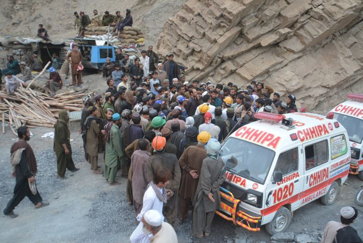 Ambulances arrive on the scene after a methane gas explosion inside a coal mine in Quetta, Pakistan on May 05, 2018. (Photo b